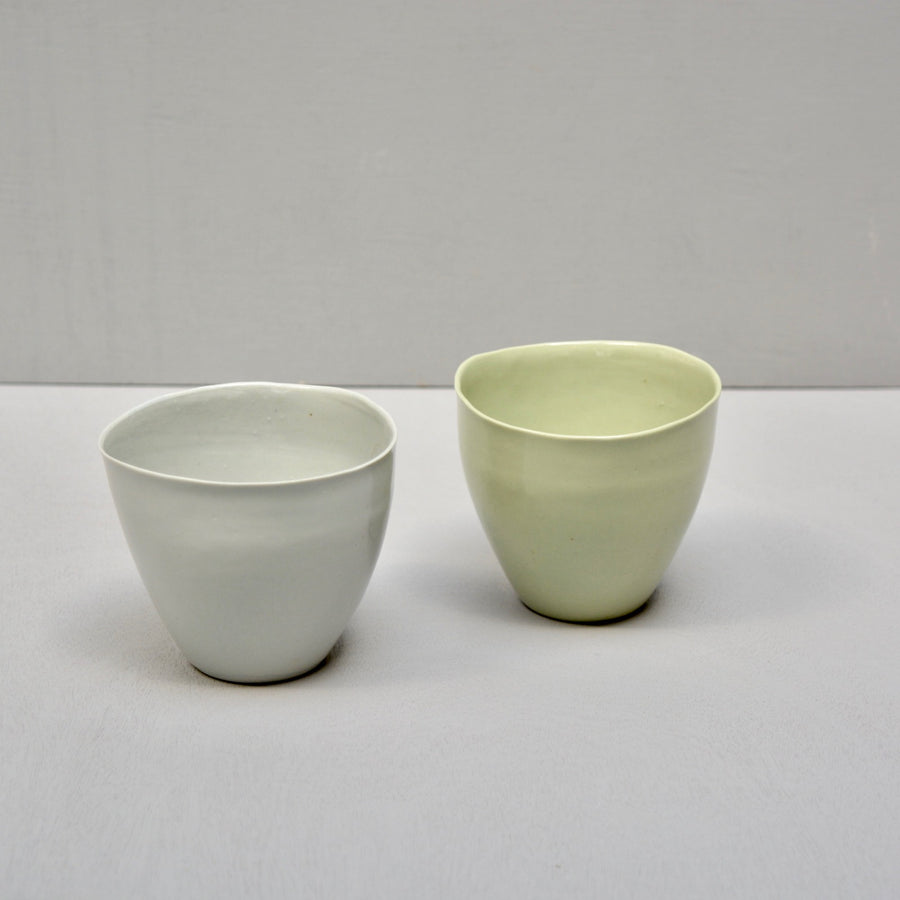 Solid Color porcelain - S E C O N D S  S A L E - set of 2 coffe Nr.2 cups - green & grey