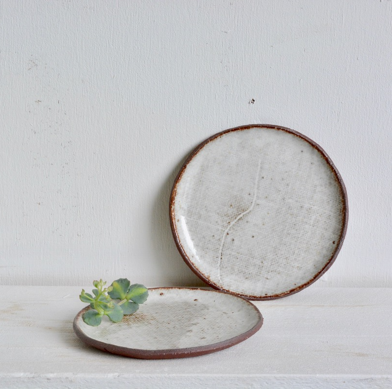 "Semi - Small side plate [almost 7""] - in Milky Canvas."