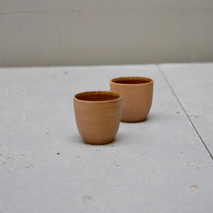 Rock ristretto cups no handles - Amber - set of two cups.