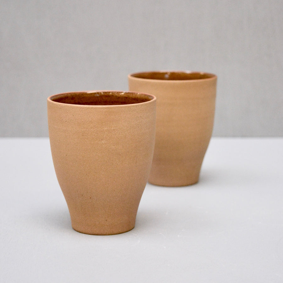 Rock Curve Cups - Amber - no handles - set of two cups