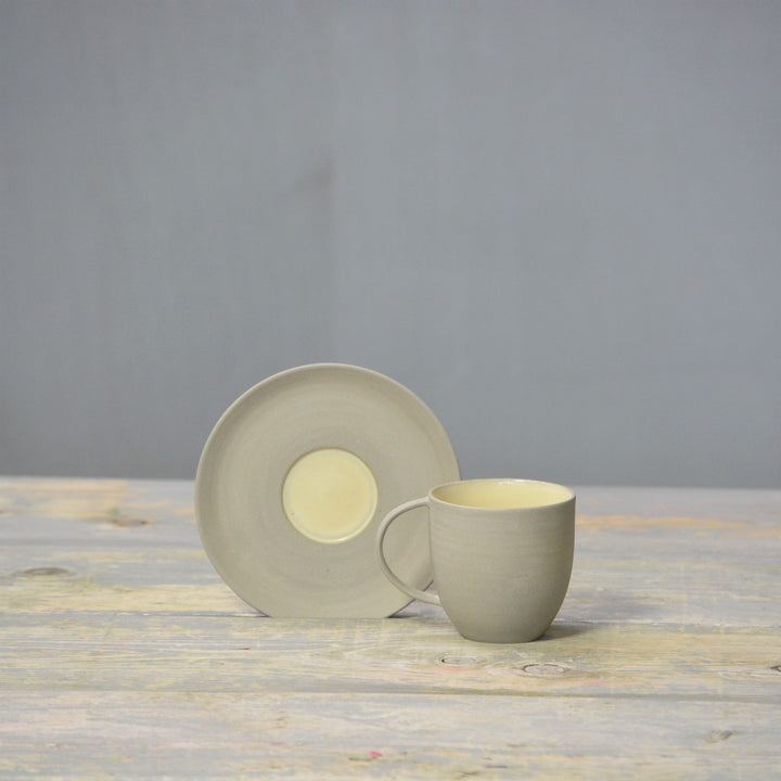N&S Stone + Color - Coffee cup and saucer in grey and cream
