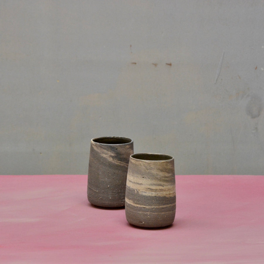 Lazy & Relax Recycled N&S - Longdrink tumblers no handles - set of 2 in darker clay marble