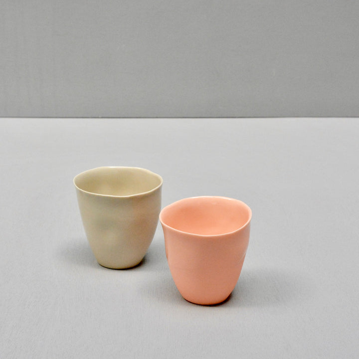 Solid Color porcelain - set 2 cups - Sand and pink