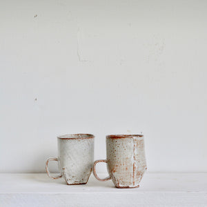 Milky Canvas - cafe cups - semi square with handles.