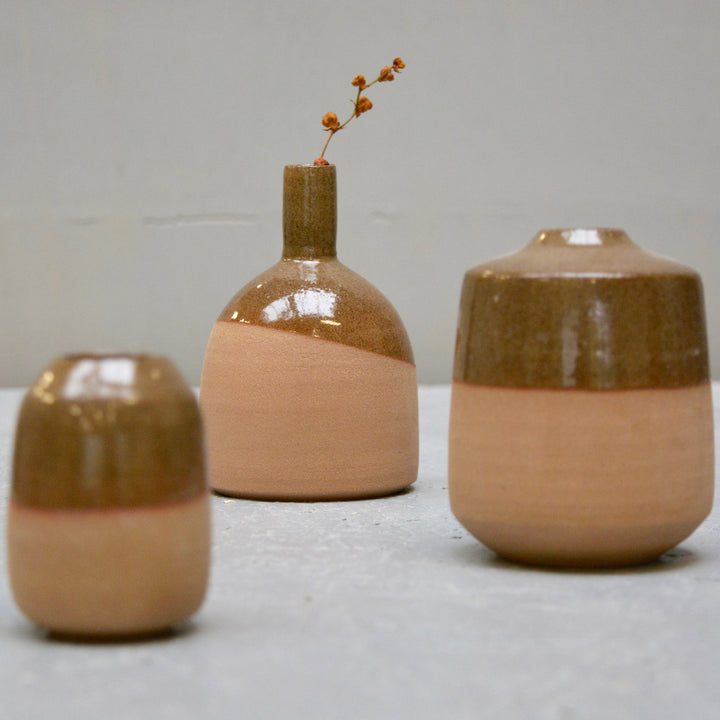 Rock - Amber - Little vase industrial round