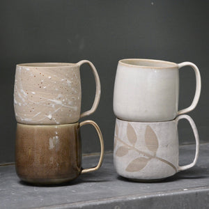 Lazy & Relax mug in Reclaimed & Recycled stoneware & white splash decoration - Nr1