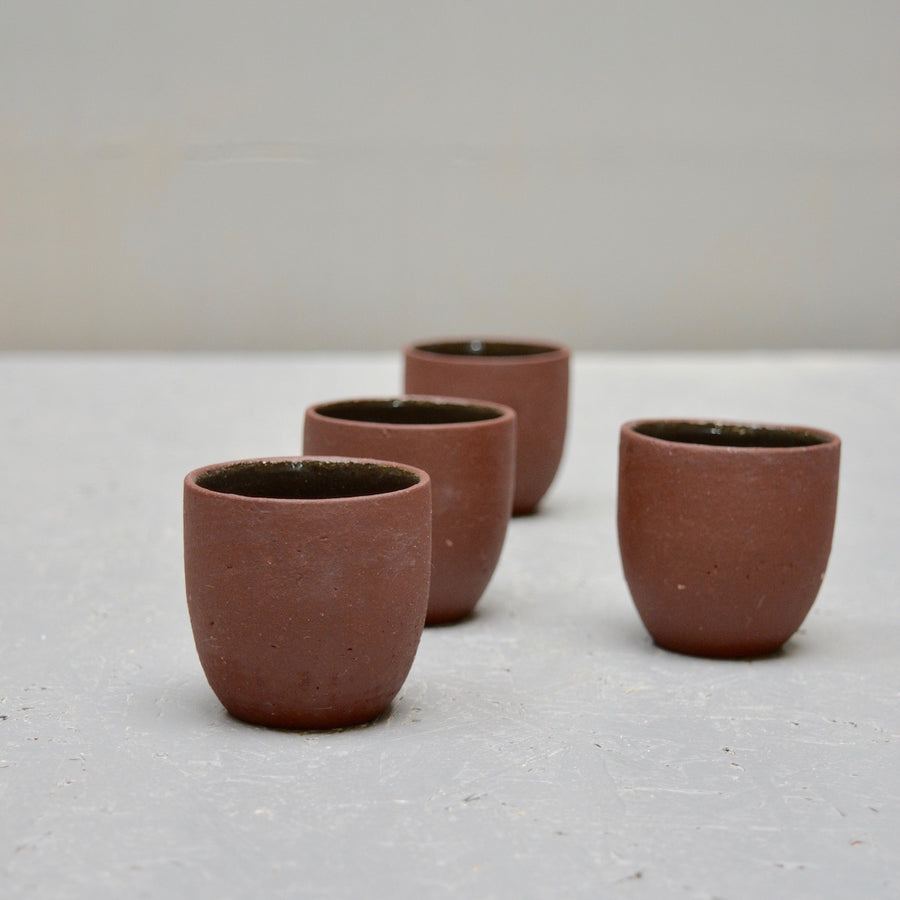 Rock ristretto cups no handles - Red Earth - cone 8