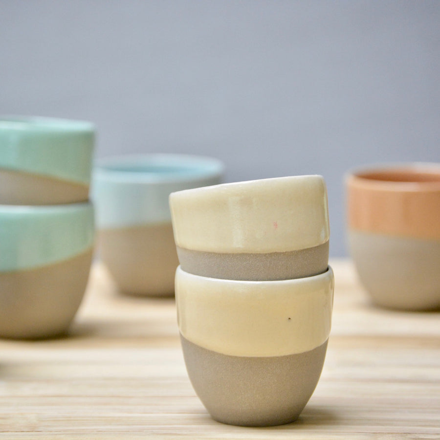 S E C O N D S - Stone & Color | Grey + cream - Espresso cups no handles - 2cups