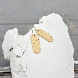 Porcelain earrings - Freckled pills - medium & thin - Indian yellow - small earwire