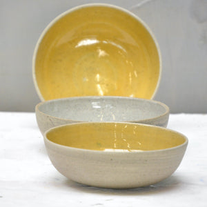 Recycled N&S - granola bowls - medium size in indian yellow and granite