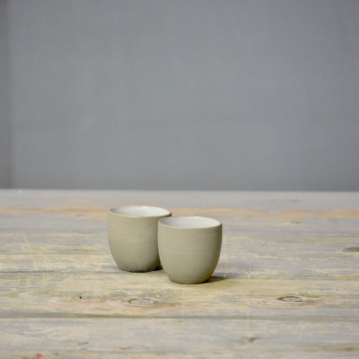 N&S Stone + Color - Ristretto cups no handles - set of 2 white.