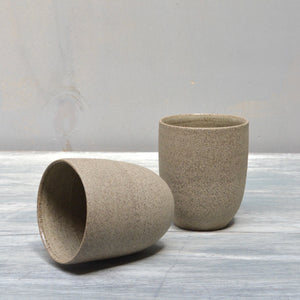 grey mugs no handles stoneware clay pottery