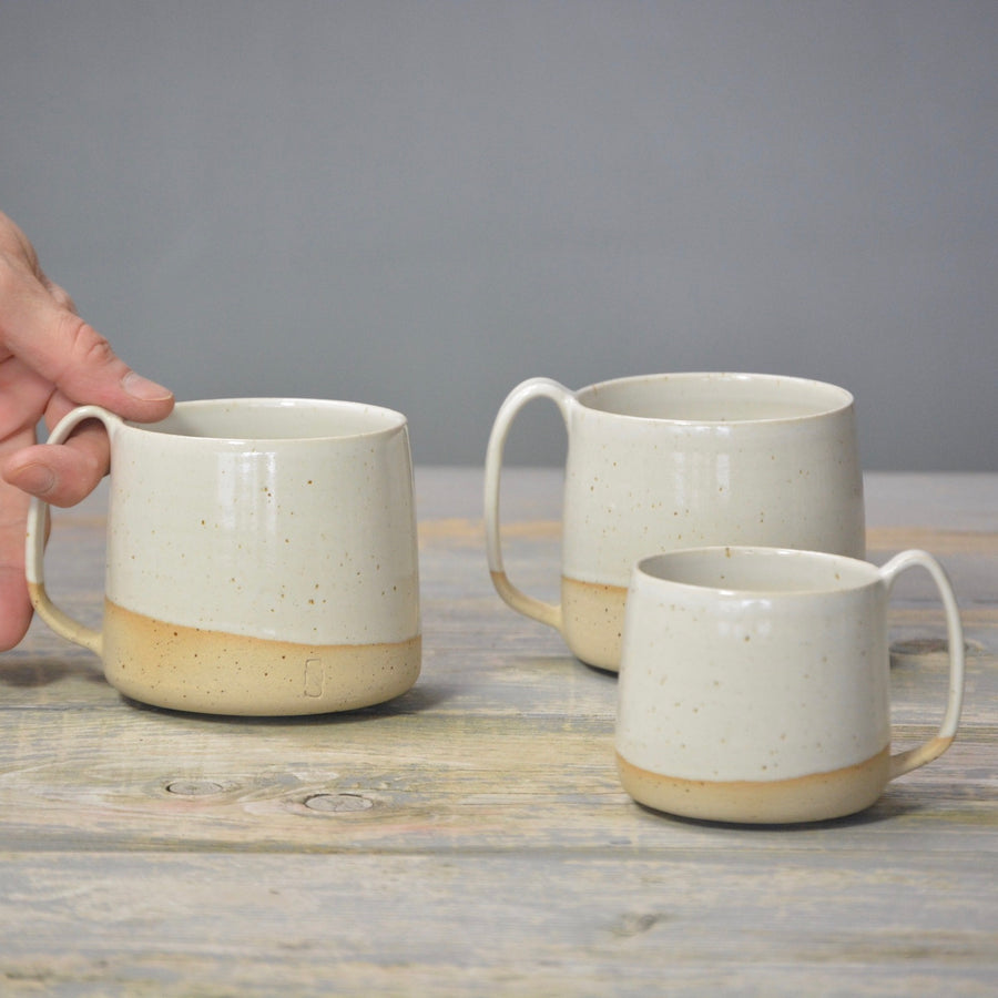We've Spotted You - Lazy & Relax mug - White gloss and a bit of naked speckled clay.