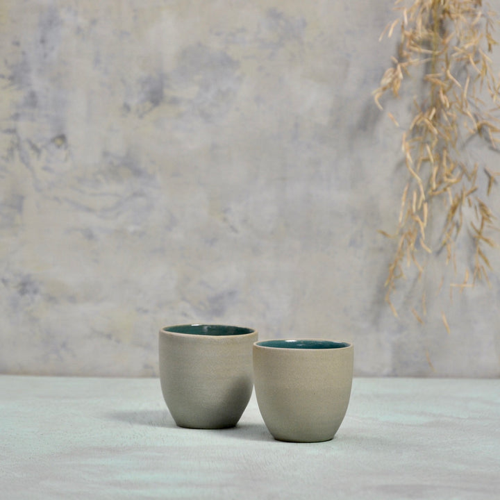 N&S Stone + Color - Ristretto cups no handles - set of 2 dark blue/green.