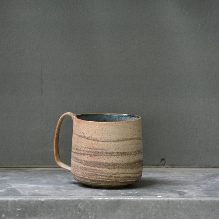 Lazy & Relax mug in Recycled stoneware with deep sea glaze - A -  500ml. (16,9 Fl.Oz.)