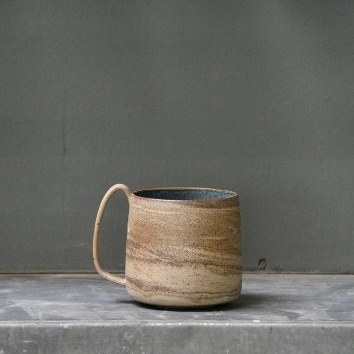 Lazy & Relax mug in Recycled stoneware with deep sea glaze - B -  500ml. (16,9 Fl.Oz.)