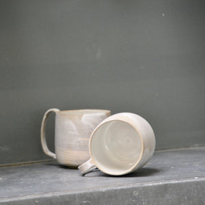 Lazy & Relax mug in Reclaimed & Recycled stoneware Set of two - white wash white glaze.