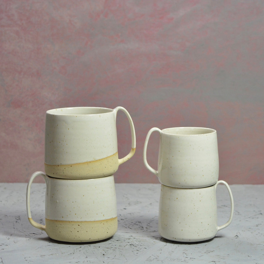 SALE - We've Spotted You - XXL Lazy & Relax mug - White gloss and a bit of naked speckled clay.