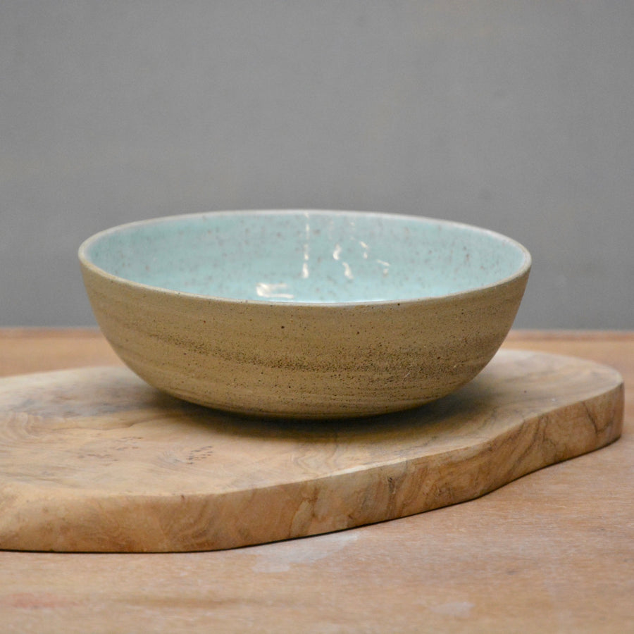 Recycled N&S - Granola Bowl - Granite -Turqouise glaze.