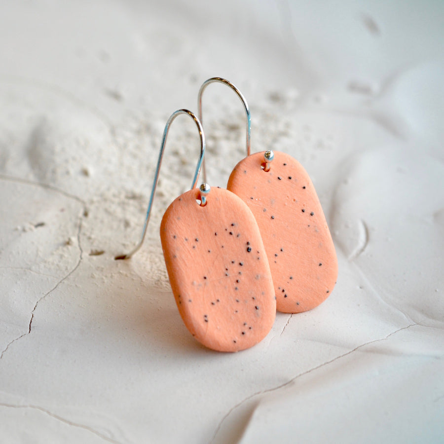 Porcelain earrings - Freckled pills - medium - orange - small earwire