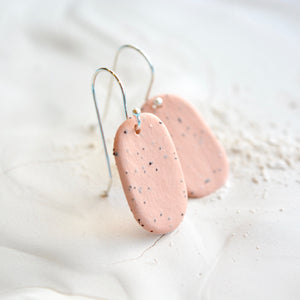 Porcelain earrings - Freckled pills - medium - pastel brique - small earwire