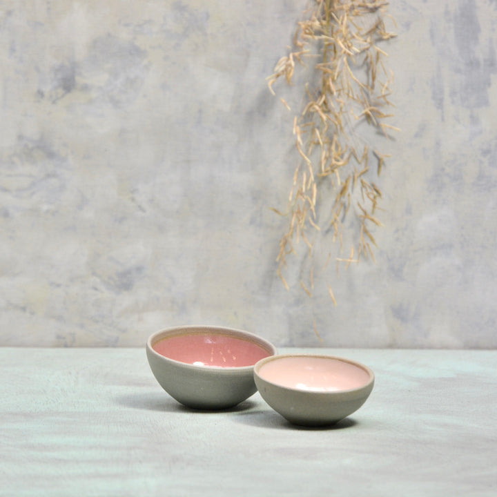 Stone & Color mini bowls -  Set of dark and soft pink 7x3,5cm.