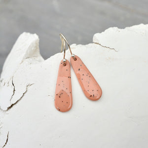 Porcelain earrings - Freckled thin drops - medium - pastel brique - small earwire