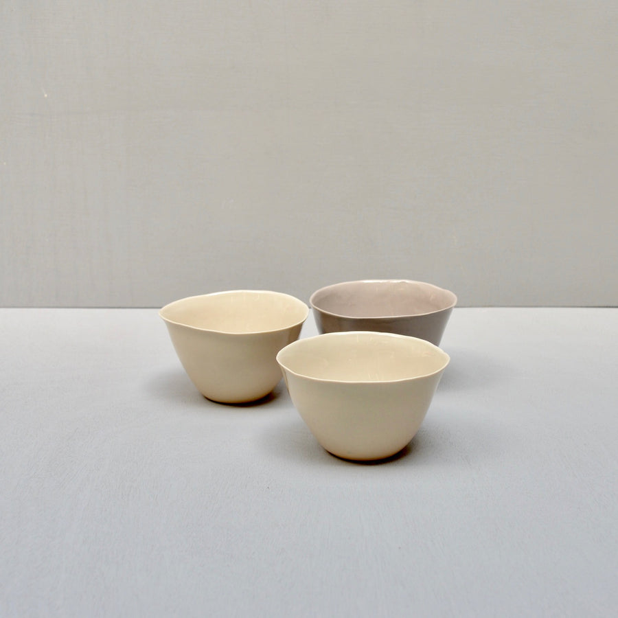 Solid Color porcelain - set 3 bowls - Naturals