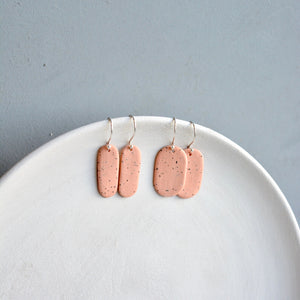 Porcelain earrings - Freckled pills - medium & thin - pastel brique - small earwire