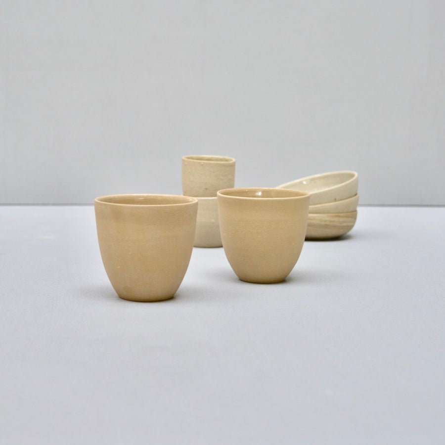 Rock coffee cups no handles - Sandstone smooth - set of two cups.