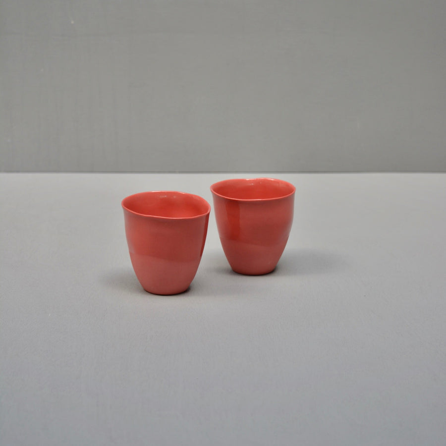 Color porcelain - set 2 cups - Subtle red