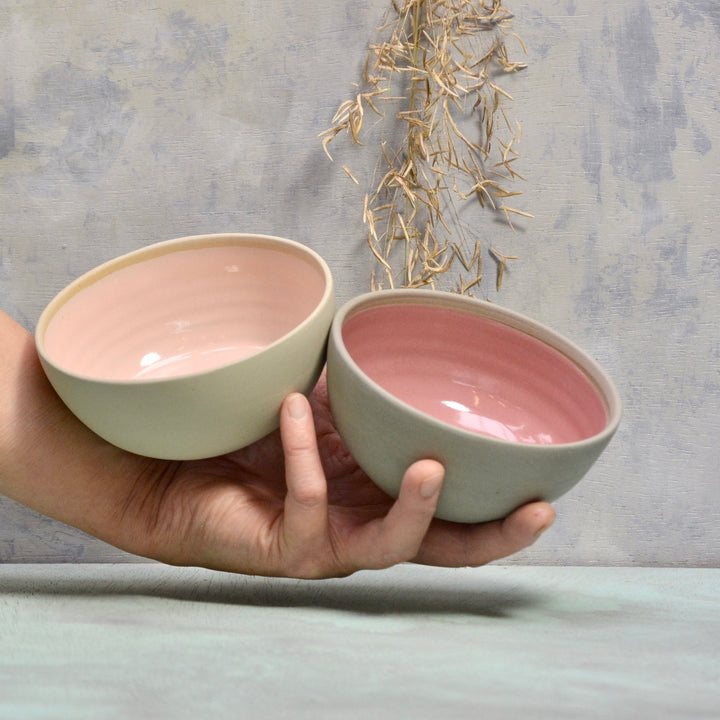 Stone & Color small bowls -  Set of dark and soft pink 12x5,5cm.