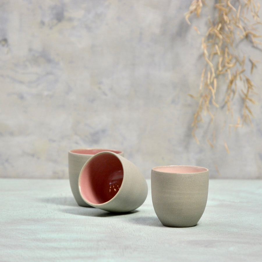 N&S Stone + Color - Ristretto cup no handle - 1x in soft pink.
