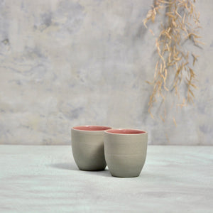 N&S Stone + Color - Ristretto cups no handles - set of 2 dark pink.