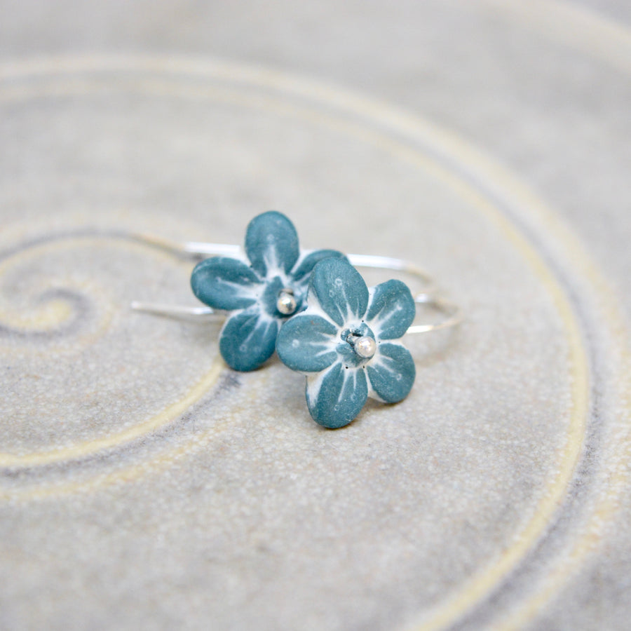 Sakura earrings - bluegreen with white - matt - small earwire