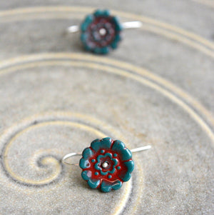 Fleur Du Joly earringss - Dark blue green & ruby red - small earwire