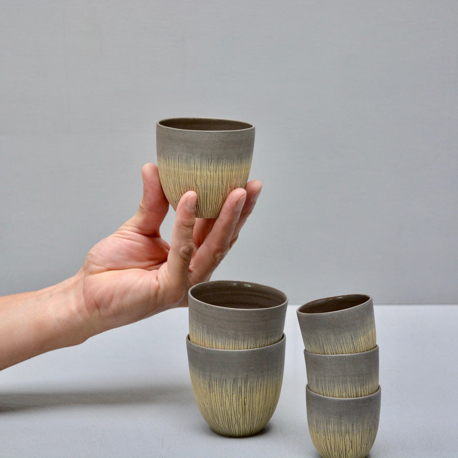 Retro Sgraffito coffee cups no handles - Indian Yellow.