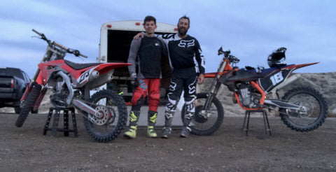 Travis and Wyatt Gibson pictured with dirt bikes