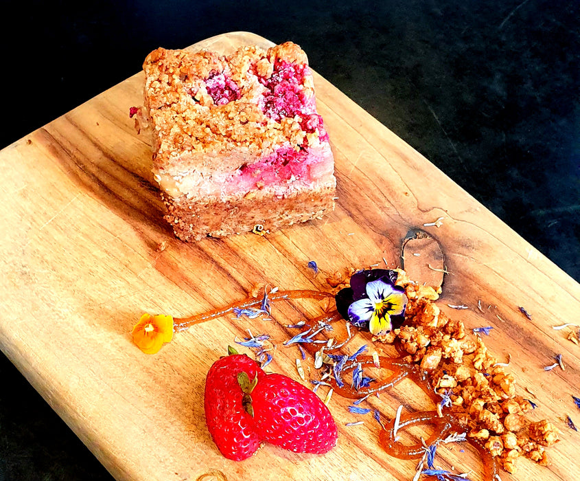 Raspberry Apple Crumble Slice