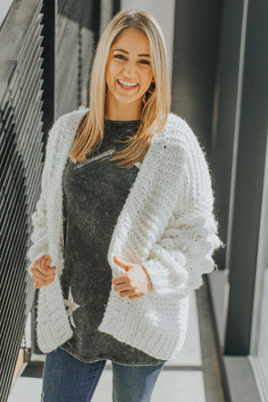 Falling In Love At The Lodge Knit Cardigan in Ivory