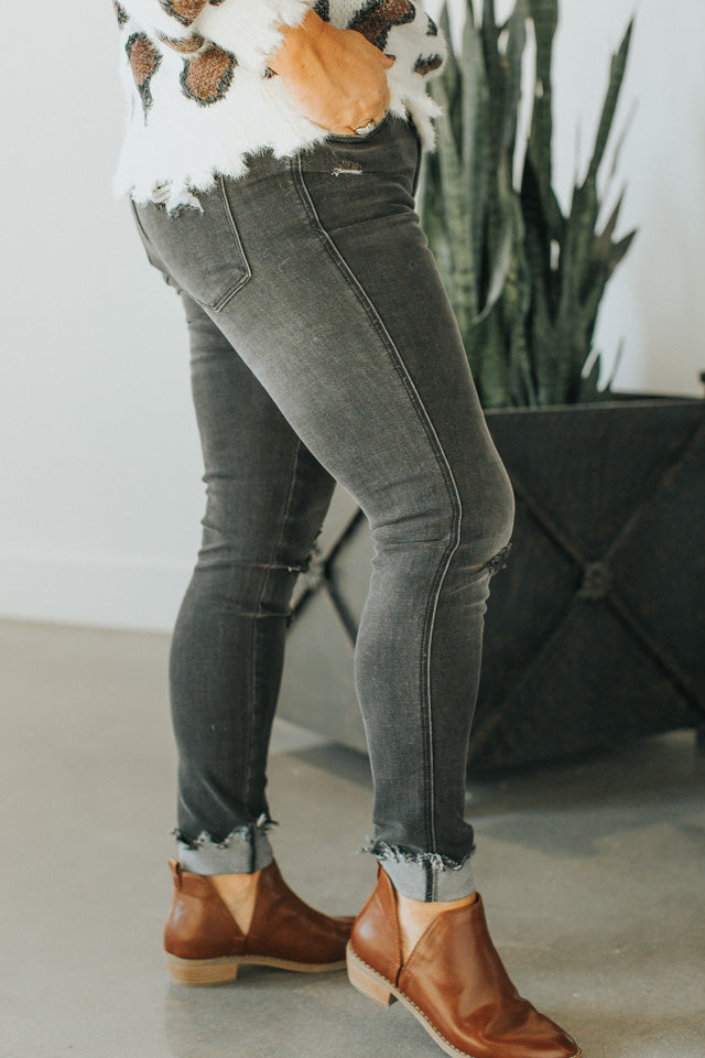The Haylie Charcoal High-Rise Denim