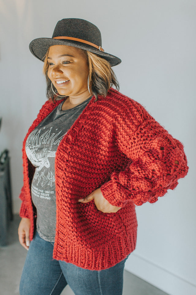 Falling In Love At The Lodge Knit Cardigan In Burgandy