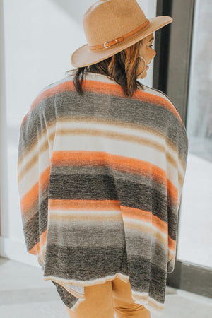 Radiating Warmth Striped Poncho