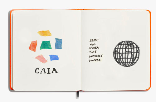 A sketchbook showing Idioma's Gaia design and their 6 natural elements.