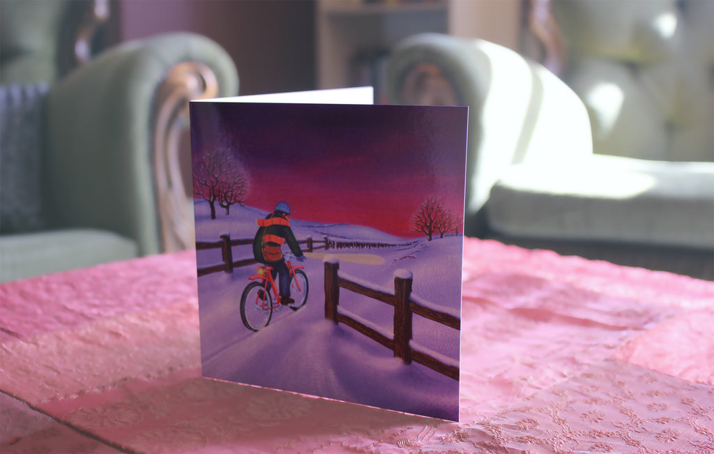 Snow Bicycle Christmas Card
