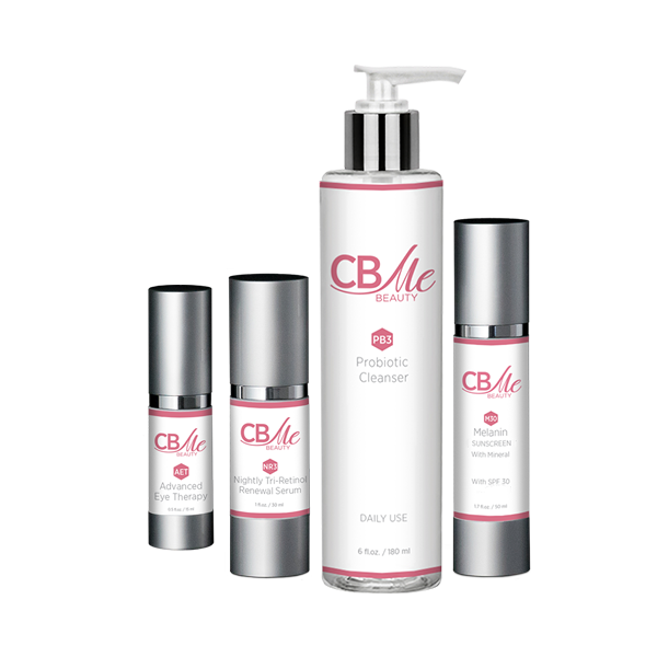 Cleanser + Melanin Sunscreen + Nightly Serum + Eye Therapy - CBME Beauty