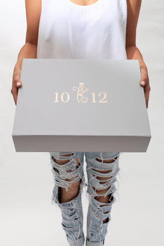 A 10 to 12 gift box with gold lettering.