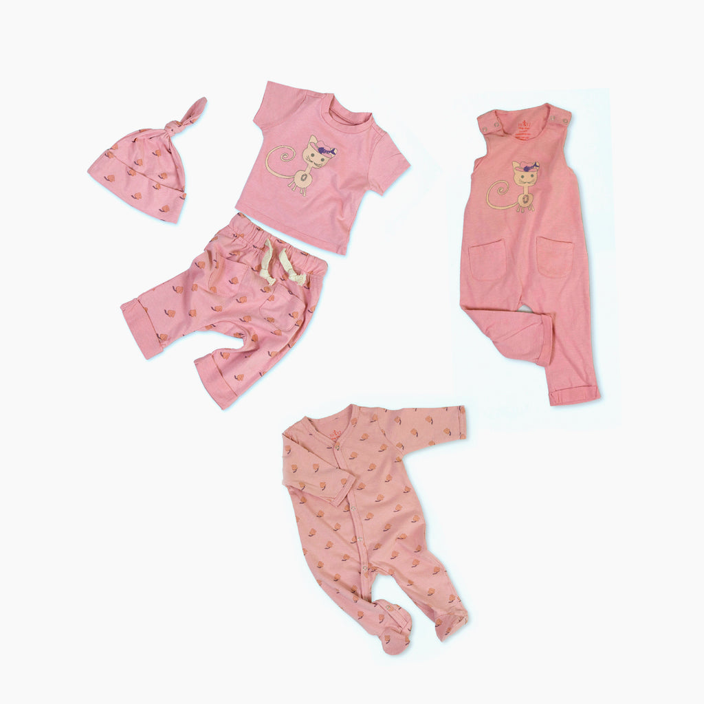 Kiwi the Cat Organic Cotton Baby Set