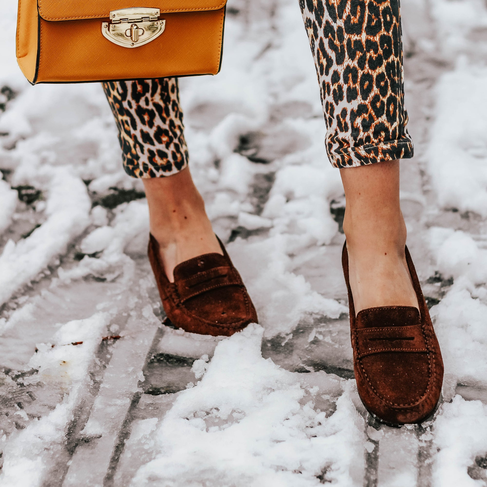 Hugs & Co. Suede Loafers styled by @aglassofice