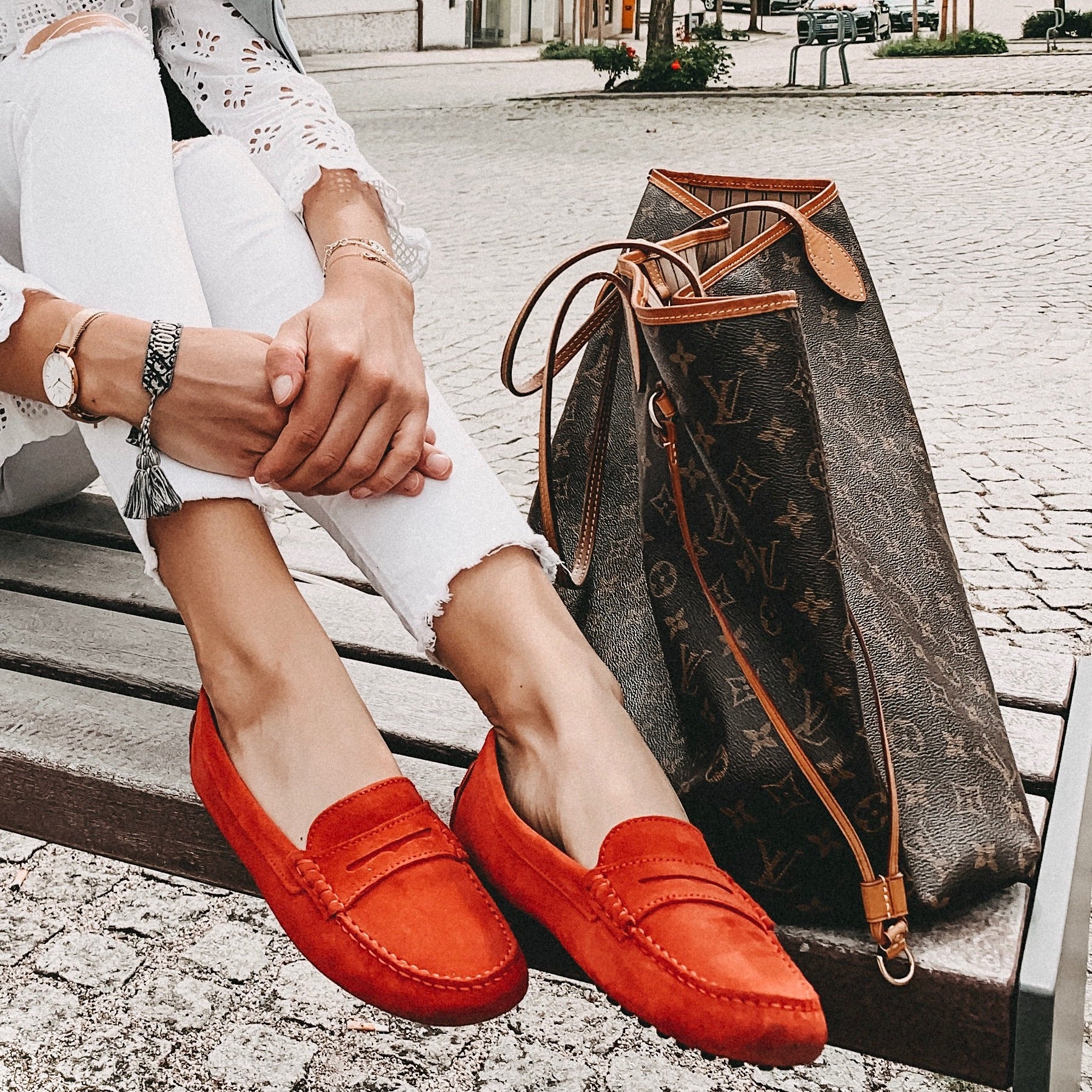 Red Suede Hugs & Co. Loafers Worn by Lea-Sophie Rehm